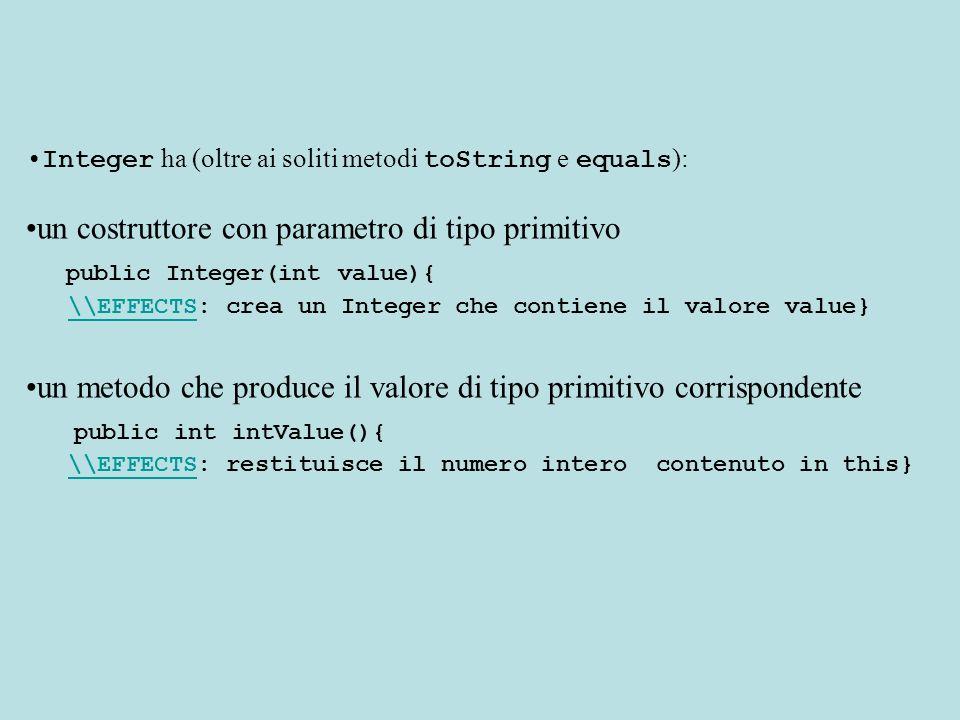 Esempio Vogliamo memorizzare il valore 3 in un Vector Integer e= new Integer(3); //creiamo lInteger elements.addElement(e); //lo inseriamo Vogliamo leggere un valore da un Vector di Integer e trasformarlo in int Integer i= (Integer) elements.elementAt(3); //Cast int x= i.intValue();//conversione