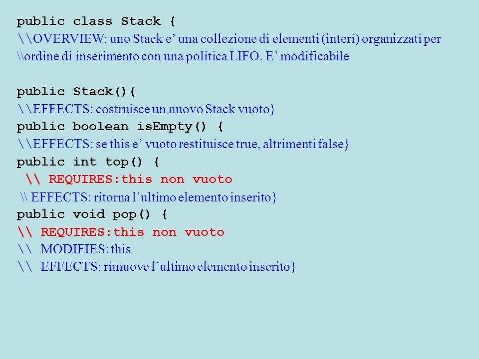 public void push (int o){ \\ MODIFIES: this \\ EFFECTS: inserisce o nella pila al top} public String toString (){ \\ EFFECTS: restituisce una Stringa che descrive gli elementi di this, dal primo inserito allultimo} }
