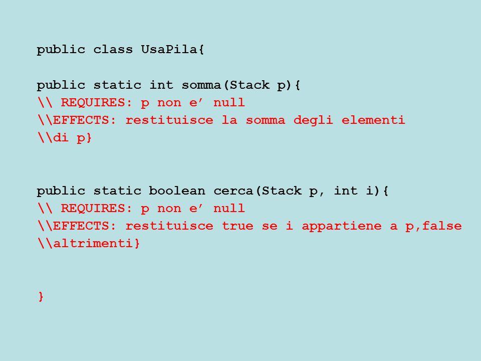 Nota I metodi statici sono difficili perche non abbiamo un modo per accedere a tutti gli elementi della pila (solo al top) Per contro accedendo al vettore che la implementa (deve essere evitato) sarebbe banale La pila passata per parametro non deve essere distrutta (svuotata), per riferimento