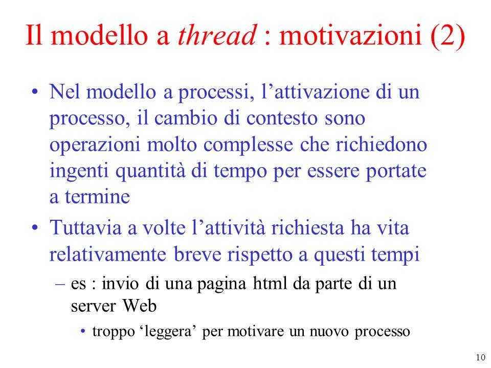 11 Il modello a thread Idee di base dietro il modello a thread : –permettere la definizione di attività leggere (lightweight processes) con costo di attivazione terminazione limitato –possibilità di condividere lo stesso spazio di indirizzamento Ogni processo racchiude più flussi di controllo (thread) che condividono le aree testo e dati