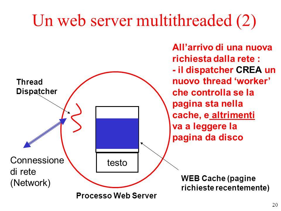 21 Un web server multithreaded (3) testo Dispatcher WEB Cache (pagine richieste recentemente) Connessione di rete (Network) work1 Disco/i work2