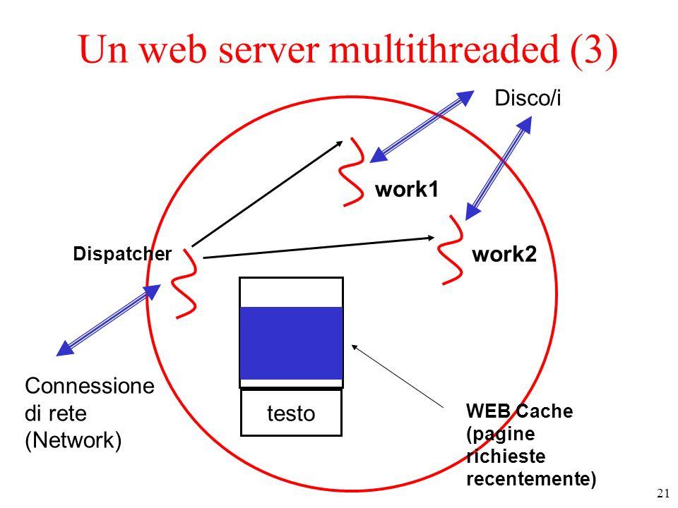 22 Un web server multithreaded (4) testo Dispatcher Ogni worker 1) legge le informazioni su cache o disco 2) aggiorna la cache 3) risponde alla richiesta, 4) TERMINA work1 work2