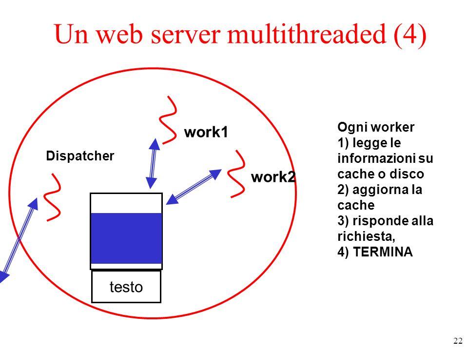 23 Un web server multithreaded (5) Possibile struttura del codice del web server (a) dispatcher thread (b) worker thread