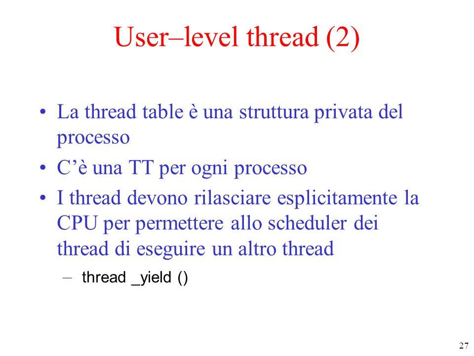 28 User–level thread (3) Spazio Utente testo dati T1 T3 T2 St1 St2 St3 Thread table Spazio Kernel Tabella dei processi RTS