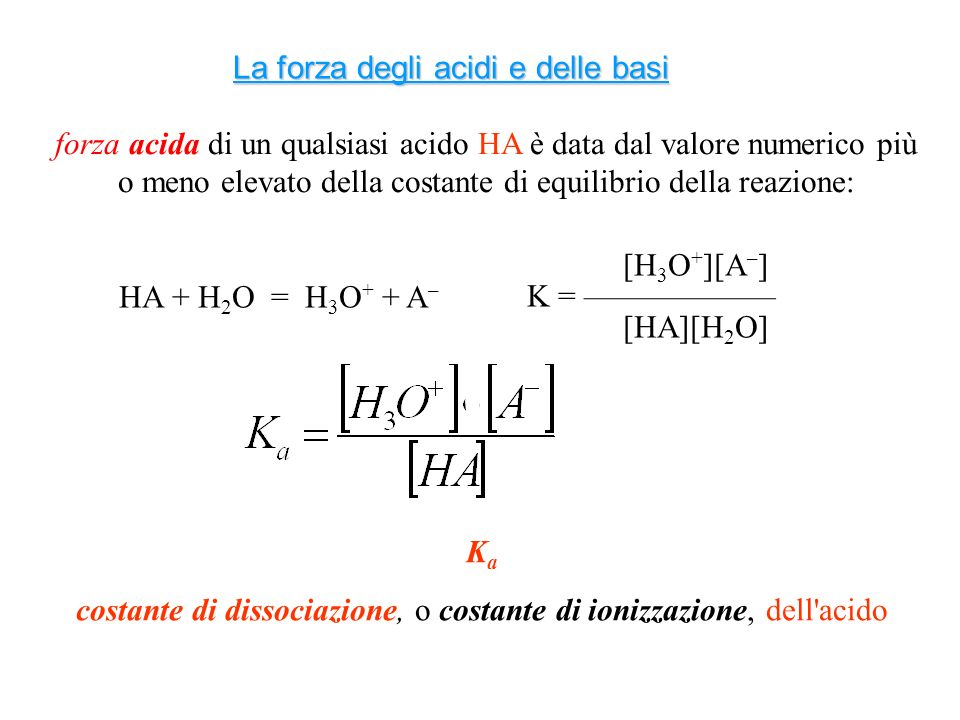 più elevato è il valore di K a, più l acido è forte, più tende a dissociarsi AcidoKaKa pK a Acido solforoso H 2 SO 3 1,5 x 10 -2 1,81 Acido nitroso HNO 2 4,3 x 10 -4 3,37 Acido acetico CH 3 COOH 1,8 x 10 -5 4,75 Acido carbonico H 2 CO 3 4,3 x 10 -7 6,37 Tanto più elevato è il pKa tanto più debole è lacido