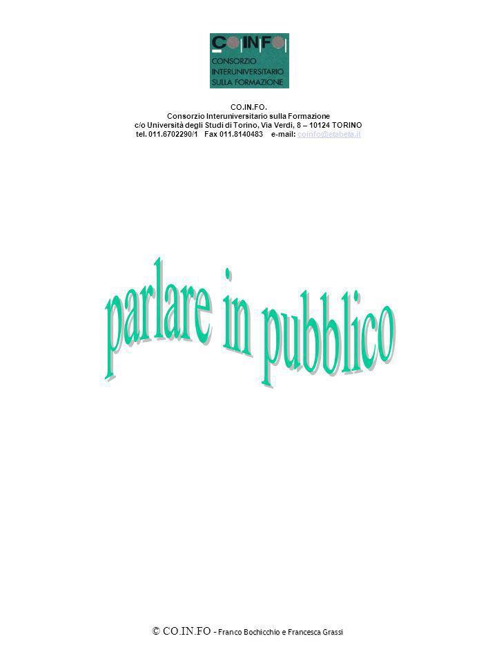 Franco Bochicchio e Francesca Grassi © CO.IN.FO - Franco Bochicchio e Francesca Grassi Sensibilizzare i partecipanti sulle dinamiche della Comunicazione interpersonale e fornire gli strumenti della Comunicazione in pubblico.