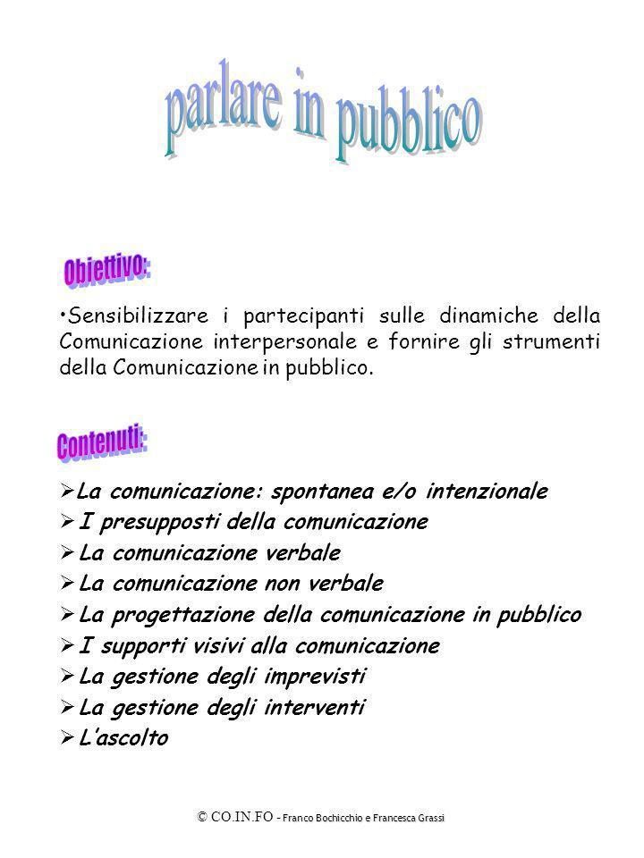 Franco Bochicchio e Francesca Grassi © CO.IN.FO - Franco Bochicchio e Francesca Grassi E È la comunicazione che trae impulso dalla propria volontà.