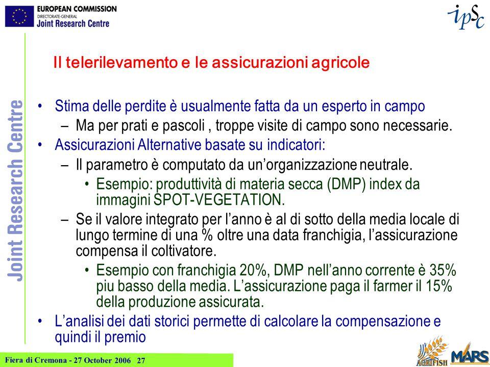 Fiera di Cremona - 27 October 2006 28 Indice di rischio per prati e pascoli Indicatore calcolato con SPOT- Vegetation (8 annate disponibili) La mappa rappresenta il pagamento atteso per un produttore ipotetico che abbia sottoscritto una assicurazione basata su questo indicatore.