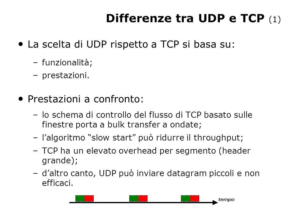 Affidabilità –TCP fornisce trasferimenti affidabili e ordinati.