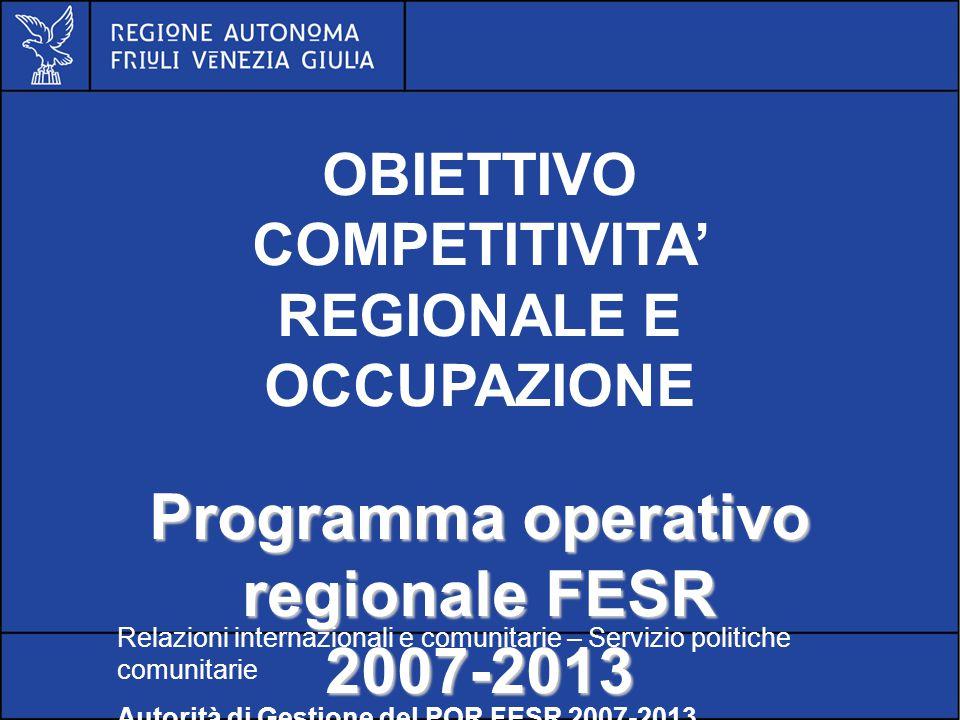 POR FESR FVG 2007-2013 ASSE 1 Innovazione, ricerca, trasferimento tecnologico e imprenditorialità Relazioni internazionali e comunitarie – Servizio politiche comunitarie Autorità di Gestione del POR FESR 2007-2013