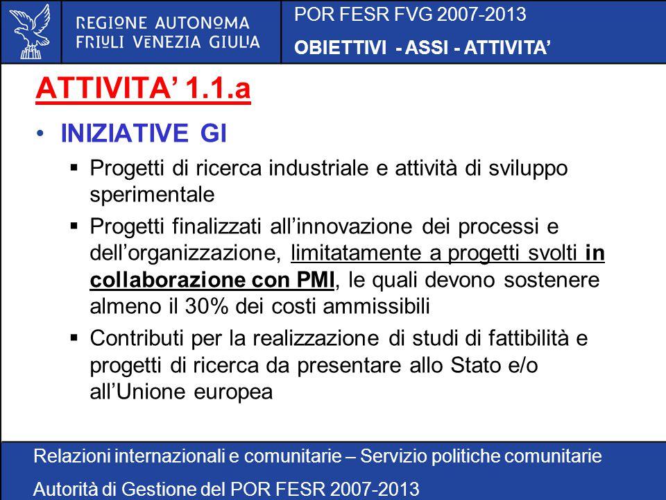 POR FESR FVG 2007-2013 OBIETTIVI - ASSI - ATTIVITA' Relazioni internazionali e comunitarie – Servizio politiche comunitarie Autorità di Gestione del POR FESR 2007-2013 ATTIVITA' 1.1.a – RISORSE FINANZIARIE Incentivazione della ricerca industriale, sviluppo e innovazione delle imprese Struttura regionale attuatrice Risorse finanziarie (Euro) DC ATTIVITA' PRODUTTIVE 17.500.000
