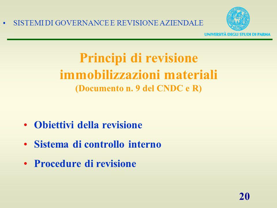 SISTEMI DI GOVERNANCE E REVISIONE AZIENDALE 21 OBIETTIVI DELLA REVISIONE
