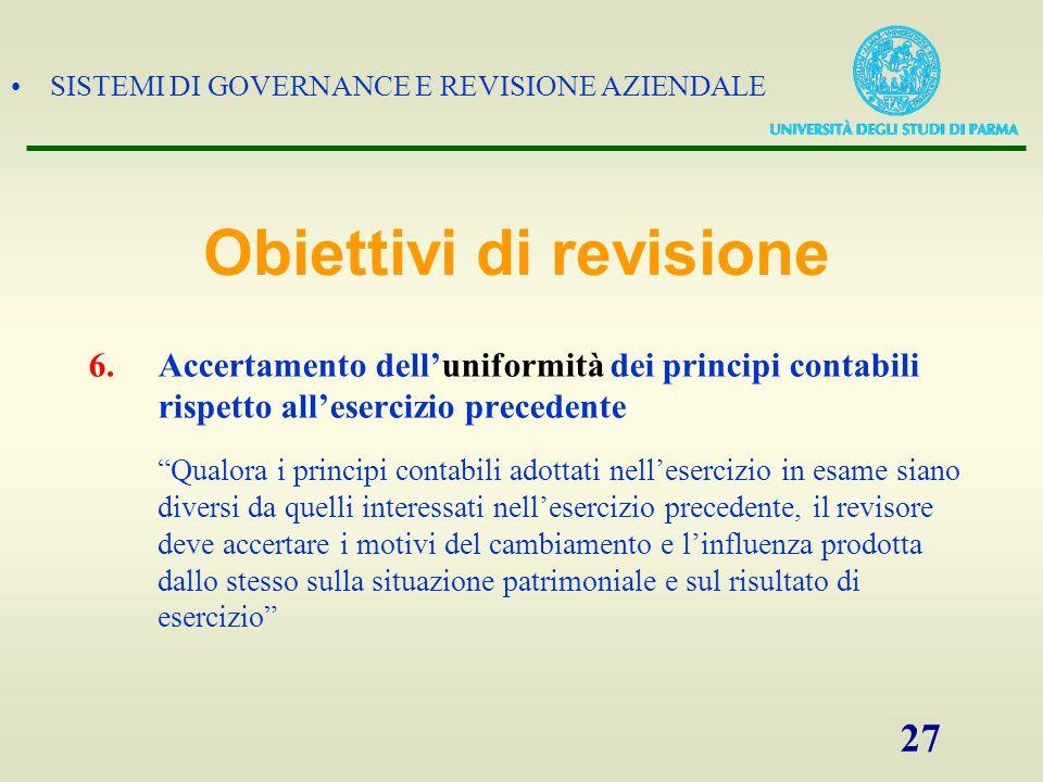 SISTEMI DI GOVERNANCE E REVISIONE AZIENDALE 28 SISTEMA DI CONTROLLO INTERNO