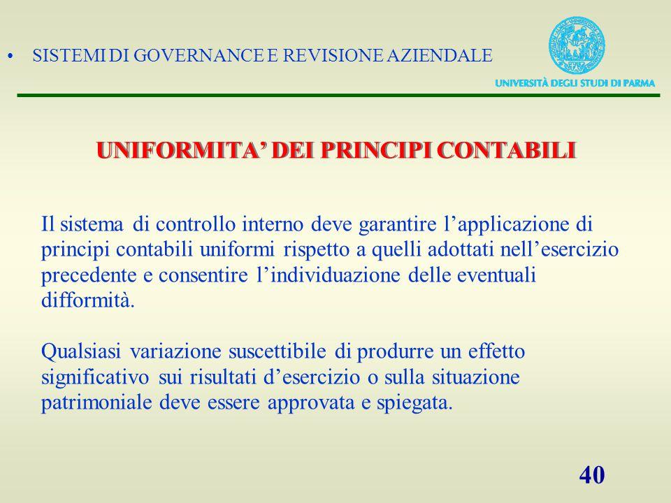SISTEMI DI GOVERNANCE E REVISIONE AZIENDALE 41 PROCEDURE DI REVISIONE
