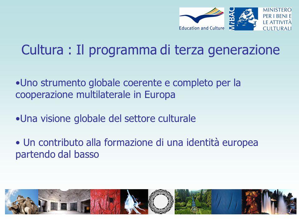 Cultura: Il programma di terza generazione Inizio: 1 gennaio 2007 Conclusione: 31 Dicembre 2013 Budget totale: 400 milioni di Euro