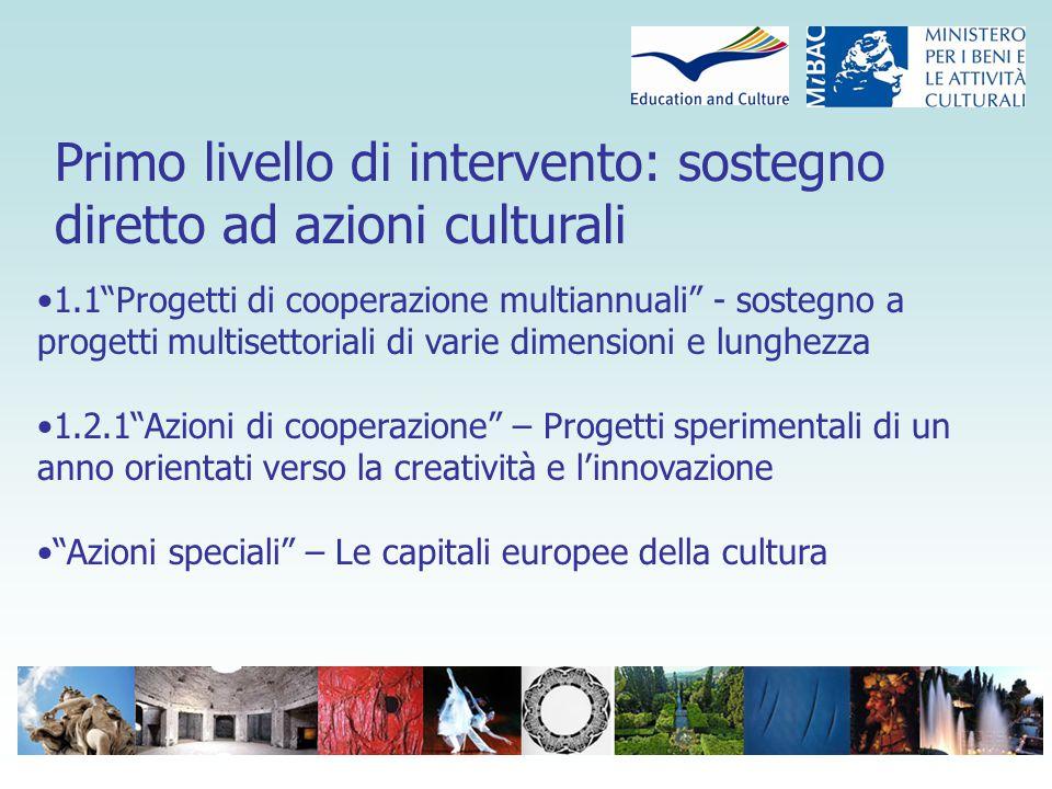 Secondo livello di intervento: le organizzazioni culturali europee Sostegno alle organizzazioni culturali europee attive nel settore culturale Integrare il sostegno per incrementare la coesione dell'azione comunitaria