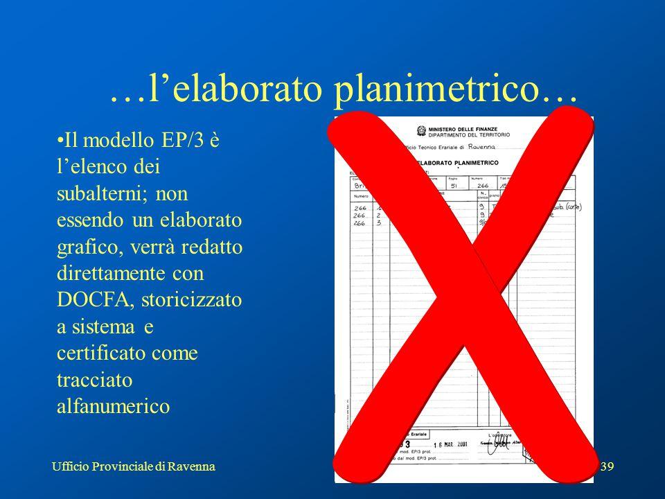 Ufficio Provinciale di Ravenna40 Elenco subalterni direttamente da procedura DOCFA