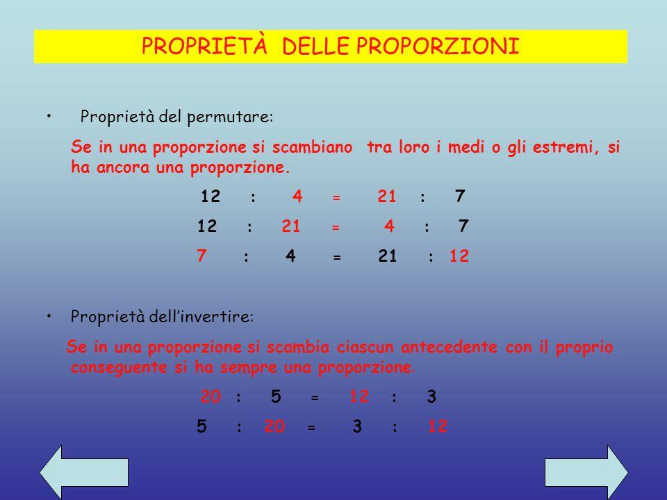 PROPRIETÀ DELLE PROPORZIONI Proprietà del permutare: Se in una proporzione si scambiano tra loro i medi o gli estremi, si ha ancora una proporzione.
