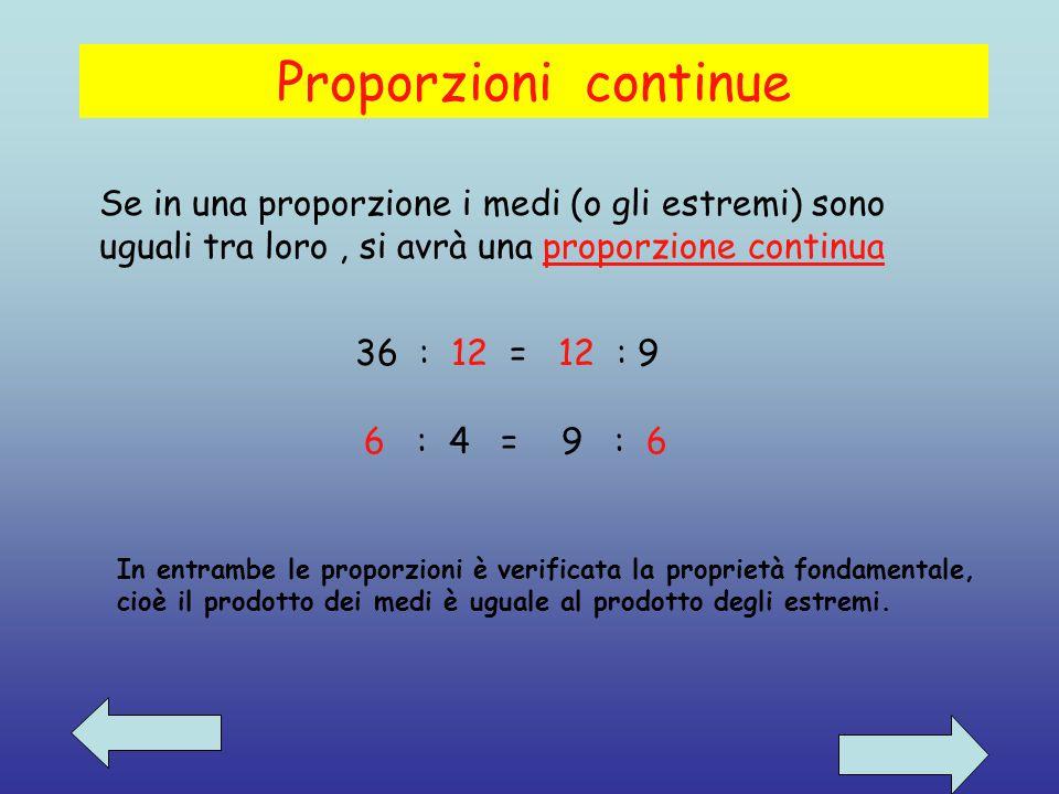 Proporzioni continue Se in una proporzione i medi (o gli estremi) sono uguali tra loro, si avrà una proporzione continua 36 : 12 = 12 : 9 6 : 4 = 9 : 6 In entrambe le proporzioni è verificata la proprietà fondamentale, cioè il prodotto dei medi è uguale al prodotto degli estremi.