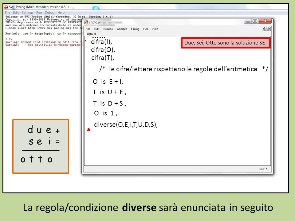 /* le cifre/lettere rispettano le regole dell'aritmetica */ O is E + I, T is U + E, T is D + S, O is 1, diverse(O,E,I,T,U,D,S), Prepariamo la comunicazione della soluzione ……..
