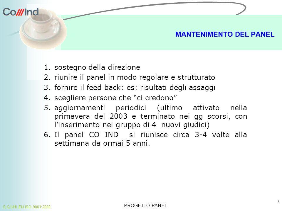 PROBLEMI PROGETTO PANEL 8 S.Q UNI EN ISO 9001:2000 Il panel lavora con un n.
