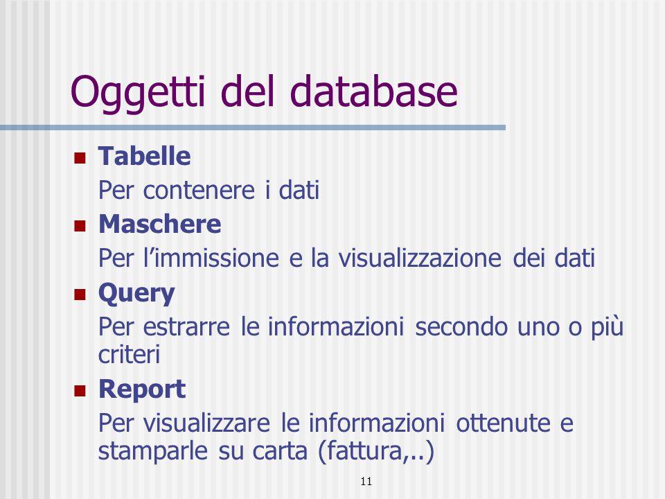 12 Creazione degli oggetti Allo stesso modo tutti gli oggetti di access possono essere creati: Creando manualmente gli oggetti Tabelle Query Utilizzando la creazione guidata Maschere Report