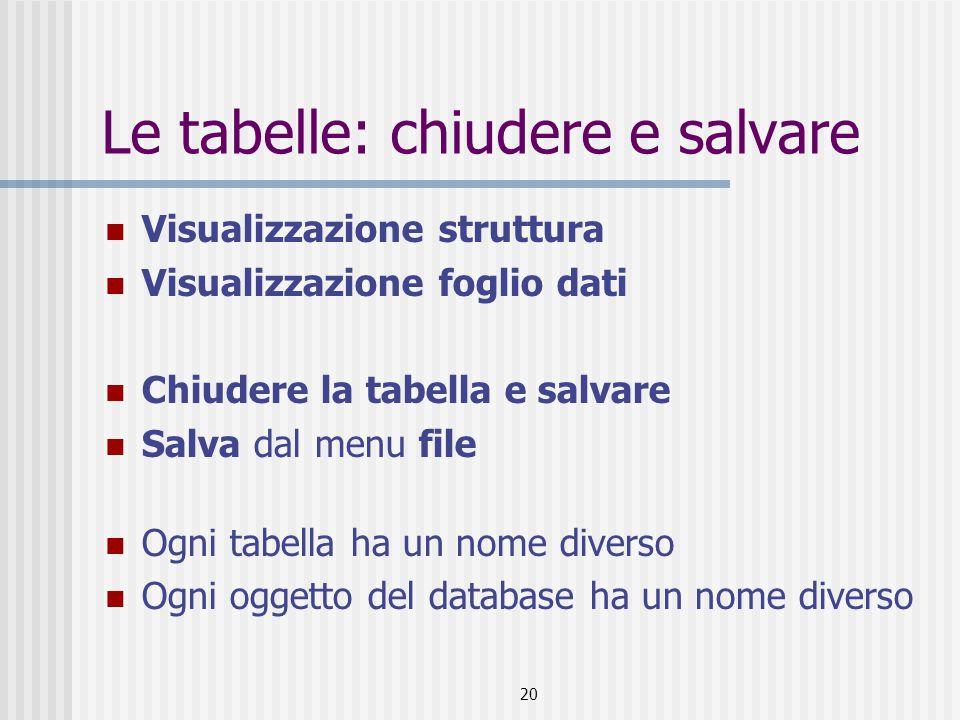 21 Le tabelle: aprire una tabella Scegliere tabelle dalla barra degli oggetti Scegliere la tabella Apri tabella in visualizzazione foglio dati Struttura tabella in visualizzazione struttura