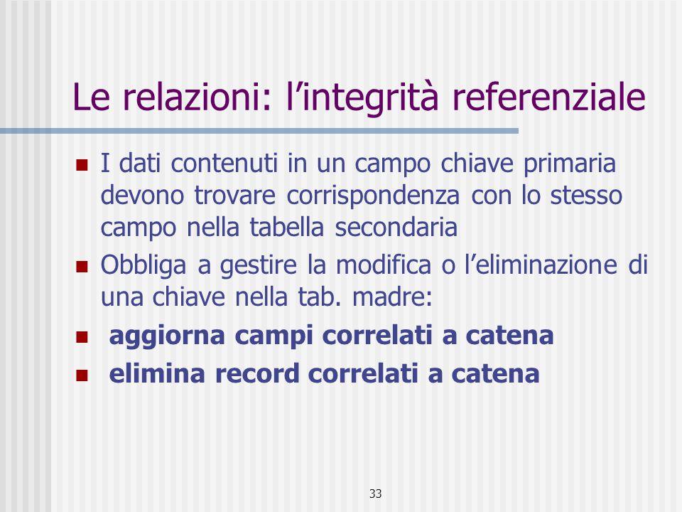 34 Le relazioni: esempio Relazione fra la tabella Zona e la tabella Agenti Tabella madre: Zona Tabella figlia: Agenti Relazione uno a molti Applica integrità referenziale