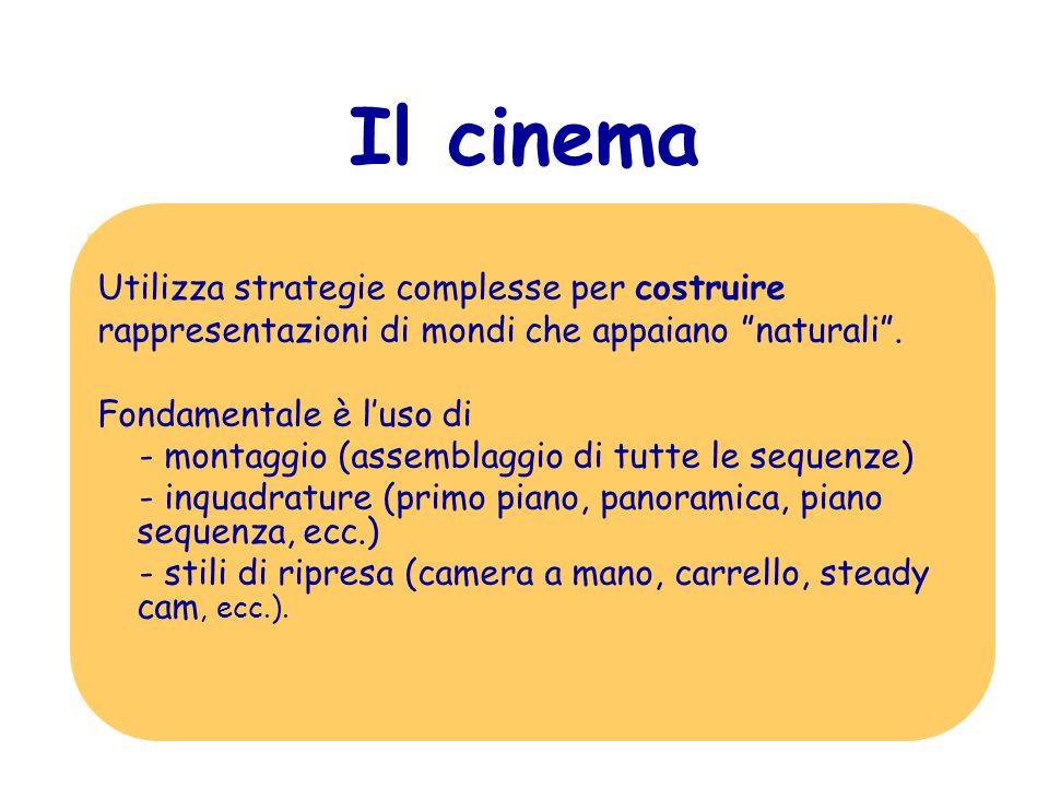 Il polisemico linguaggio del cinema Tipi di codici utilizzati: iconici (fotografici); verbali (del dialogo); musicali (della colonna sonora); cinesici e prossemici; narrativi (della sceneggiatura e del montaggio).