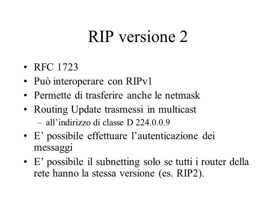 I messaggi di update vengono trasmessi in multicast RIPv2: routing update in multicast (indirizzo di classe D: 224.0.0.9)