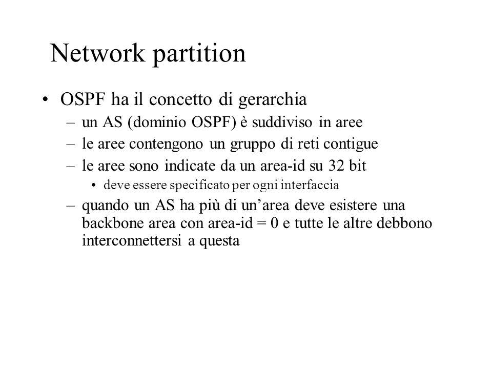 OSPF: Topology/Link State Database Un router ha un LSP database distinto per ogni area alla quale appartiene Tutti i router appartenenti alla stessa area hanno lo stesso database Il calcolo SPF è effettuato separatamente per ciascuna area LSP flooding è confinato allinterno di unarea