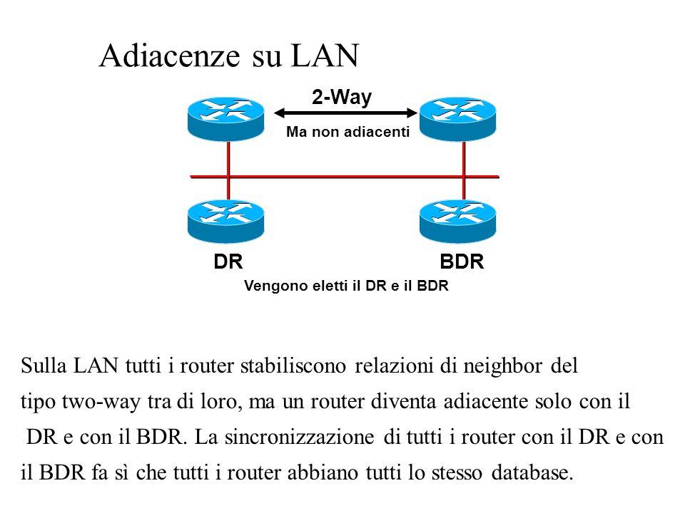 Tipi di route (approfondimento ) Un cammino selezionato da OSPF può essere: –intra-area: se è interno ad unarea OSPF –inter-area: se oltrepassa i limiti delle aree –external: se oltrepassa i limiti del dominio OSPF