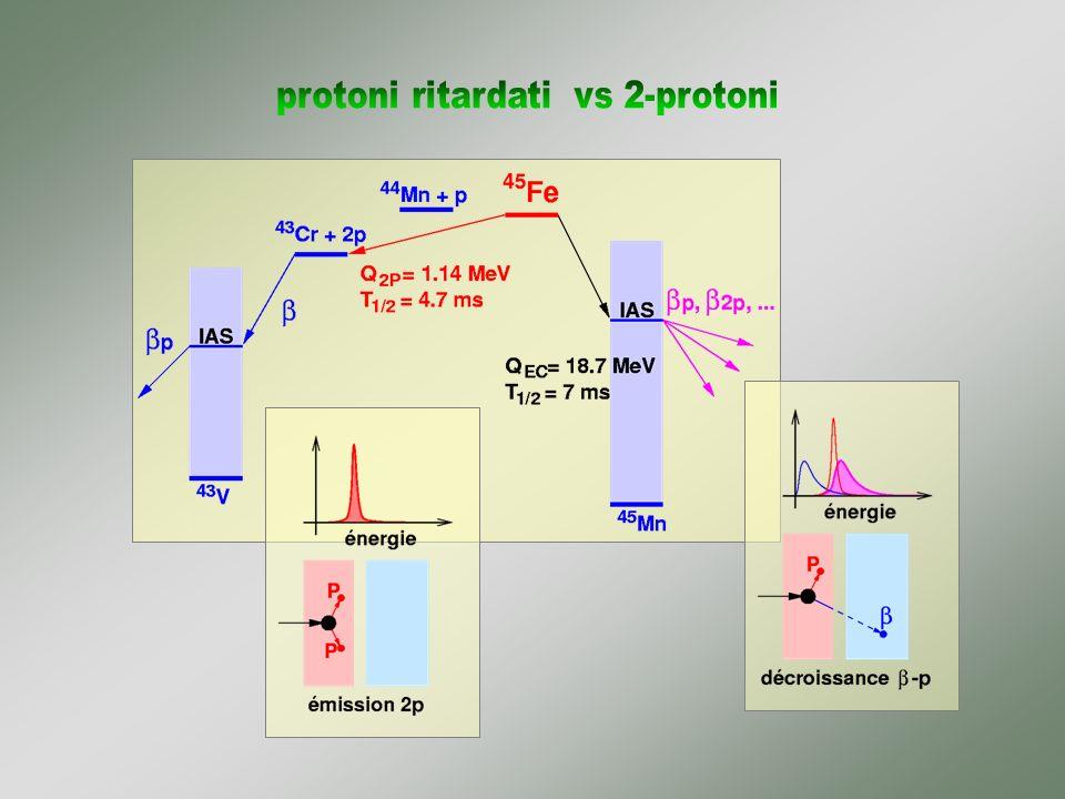 Confronto con le previsioni teoriche wi shell model (struttura nucleare, interazioni) meno esotico più alta production rate coincidenze protoni-gamma alcune transizioni identificate stime di massa (IMME)