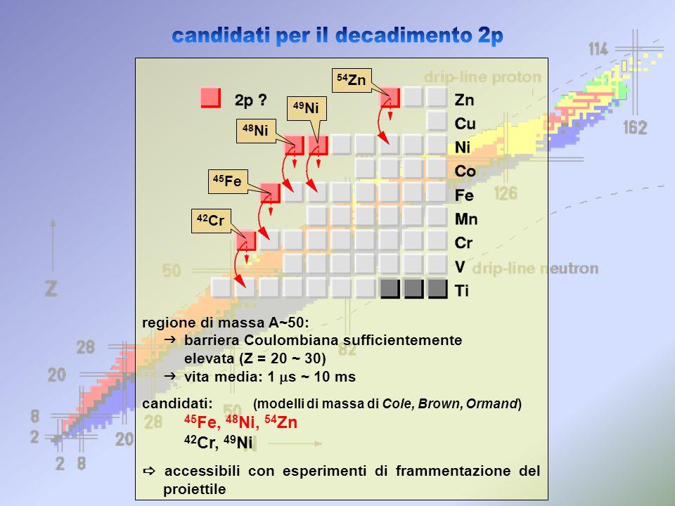 1996 GSI (Darmstadt - Germany) prima osservazione di 42 Cr, 45 Fe, 49 Ni nessuna informazione sul tipo di decadimento 1998 GANIL (Caen - France) ricerca di 48 Ni (infruttuosa) prima osservazione di 55,56 Zn 1999 GANIL scoperta di 48 Ni decadimento di 42 Cr e 49 Ni 45 Fe: statistica molto bassa 48 Ni: nessun dato sul decadimento 2000 GANIL – 2001 GSI decadimento per emissione di 2-protoni di 45 Fe
