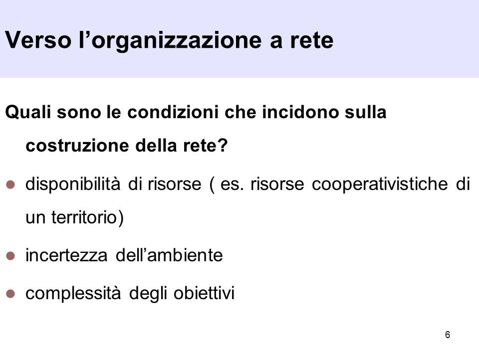 7 Quali sono le modalità di definizione e consolidamento della rete.