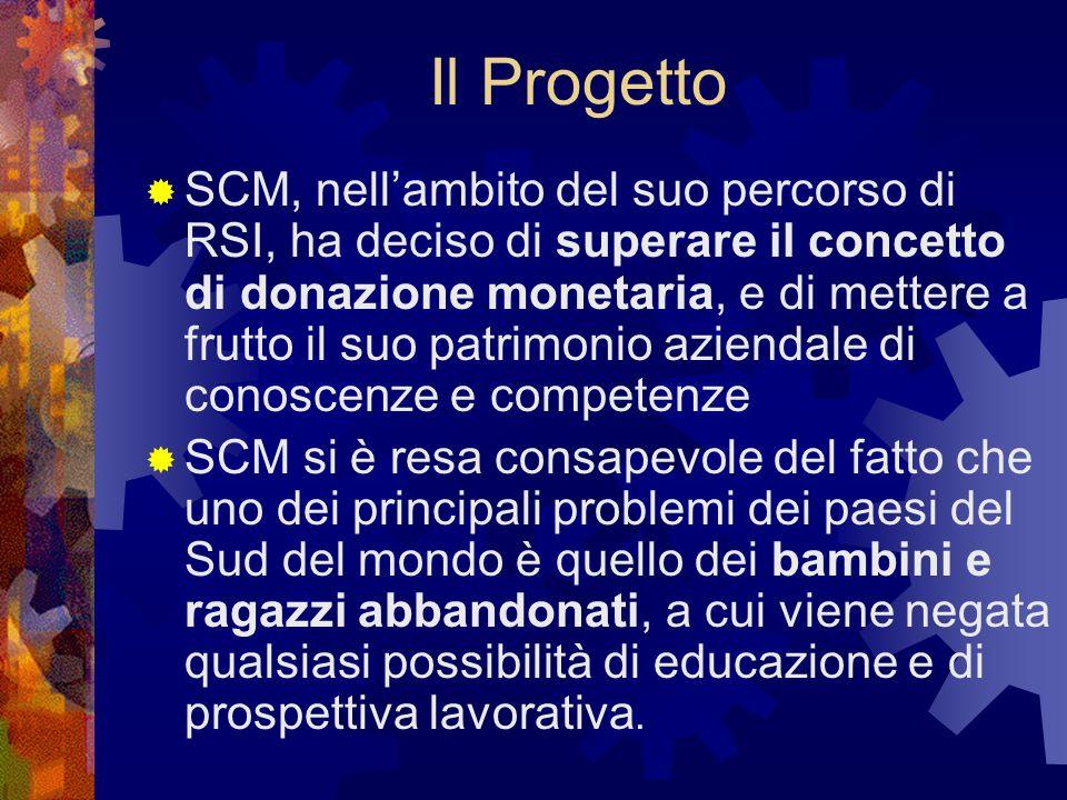 Il Progetto SCM ha quindi deciso di aiutarli ad aiutarsi, fornendo loro opportunità di educazione e formazione SCM ha coinvolto nel progetto i propri dipendenti, lAss.