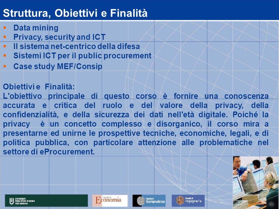 Calendario Lezioni data 15/06/2009 16/06/2009 17/06/2009 18/06/2009 19/06/2009 14.00 - 17.00Case studyMastrogregori 14.00 - 17.00Sistemi per il public procurementAccenture 10.00 - 13.00Privacy, security and ICTAcquisti 14.00 - 17.00Privacy, security and ICTAcquisti 10.00 – 13.00Privacy, security and ICTAcquisti 14.00 - 17.00Data miningBorra 10.00 - 13.00Privacy, security and ICTAcquisti 14.00 - 17.00Privacy, security and ICTAcquisti 10.00 - 13.00il sistema net-centrico della difesaGiallatini, DArgenio, Di Maulo ora 10.00 - 13.00Data miningBorra Attività Didattica: 15/06/2009 - 19/06/2009 Lezioni MateriaDocente Modulo : Security for Procurement 22/06/2009– 10/07/2009Data mining FADBorra 10/07/2009 ESAME MODULO IV