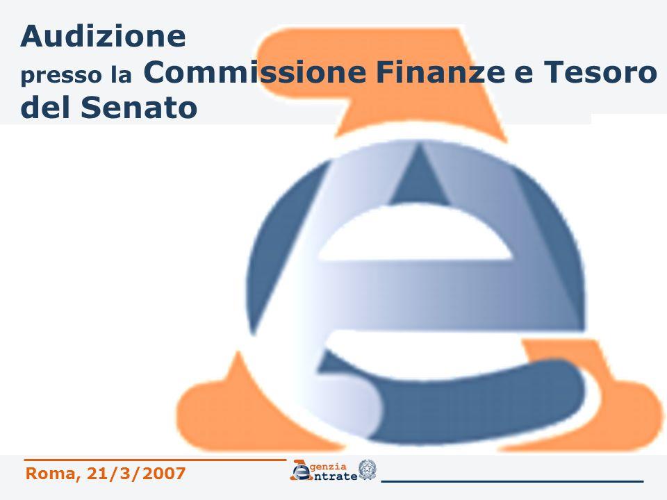 2 Sommario 1.LAgenzia delle Entrate 2.I servizi dellAgenzia 3.Evoluzione dei sistemi di pagamento 4.Attività di prevenzione e contrasto allevasione 5.Consulenza giuridica 6.Contenzioso tributario 7.Sicurezza dellAnagrafe Tributaria Commissione Finanze e Tesoro del Senato Roma, 21 marzo 2007