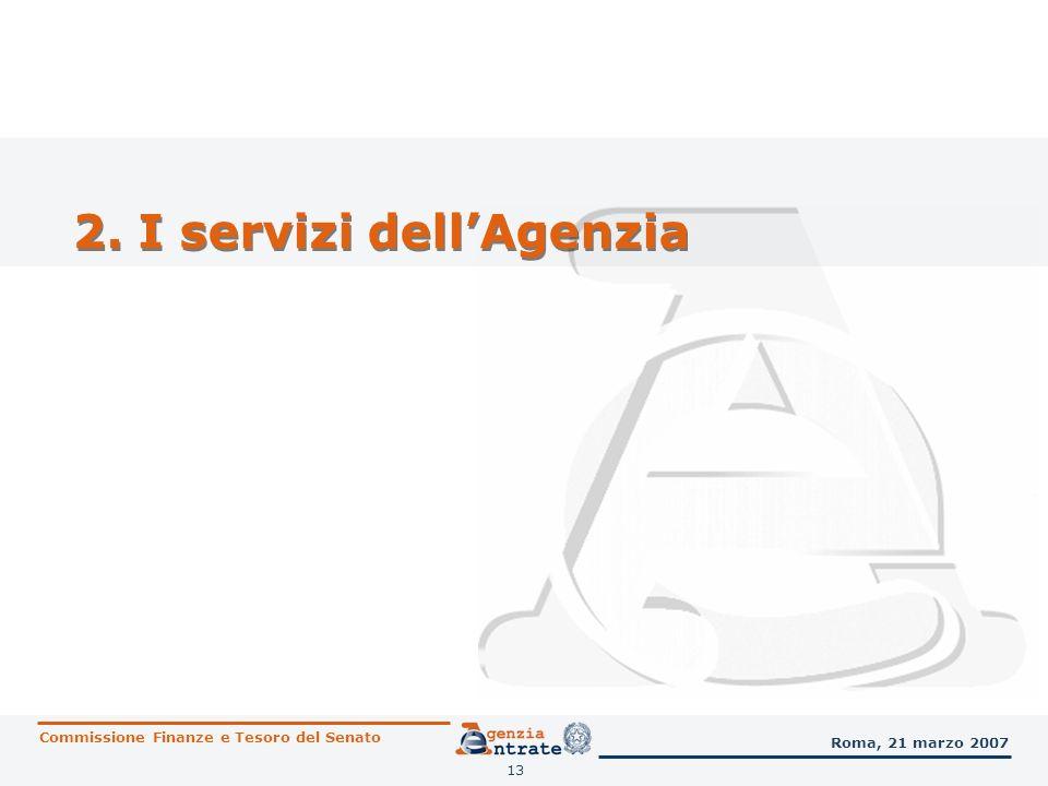 14 I servizi dellAgenzia Gli utenti nel 2006 Commissione Finanze e Tesoro del Senato Roma, 21 marzo 2007 7.190.115 accessi agli Uffici locali, per un totale complessivo di 8.976.218 servizi forniti 1.100.494 utenti serviti per appuntamento 1.838.766 utenti serviti dai CAM oltre 30.600.000 accessi al sito INTERNET