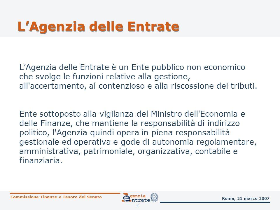 5 LAgenzia delle Entrate I rapporti tra il Ministero dell Economia e delle Finanze e l Agenzia sono regolati da una Convenzione triennale, con adeguamento annuale per ciascun esercizio finanziario.