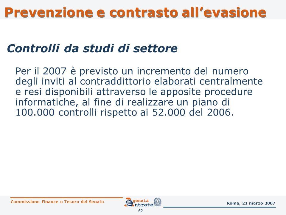 63 E previsto un incremento (da 46 del 2006 a 65 del 2007) del numero di studi di settore da sottoporre a revisione.
