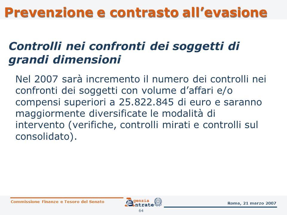 65 I controlli nei confronti dei soggetti di grandi dimensioni e dei soggetti che hanno optato per il consolidato fiscale passeranno da 960 del 2006 ad almeno 1.500 del 2007.
