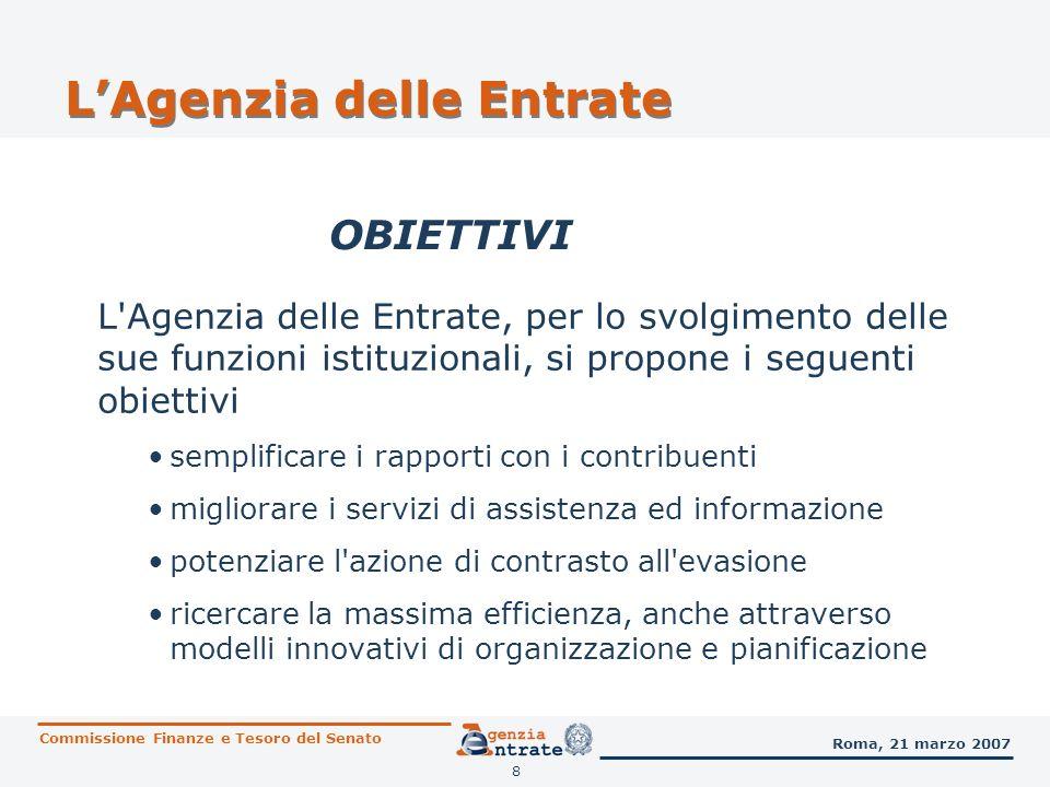 9 LAgenzia delle Entrate ORGANIZZAZIONE LAgenzia è articolata in A livello centrale la struttura è formata da UFFICI CENTRALI E REGIONALI con prevalenti funzioni di programmazione, indirizzo, coordinamento e controllo UFFICI LOCALI con funzioni operative 6 Direzioni centrali 4 Uffici di staff del Direttore dellAgenzia Commissione Finanze e Tesoro del Senato Roma, 21 marzo 2007