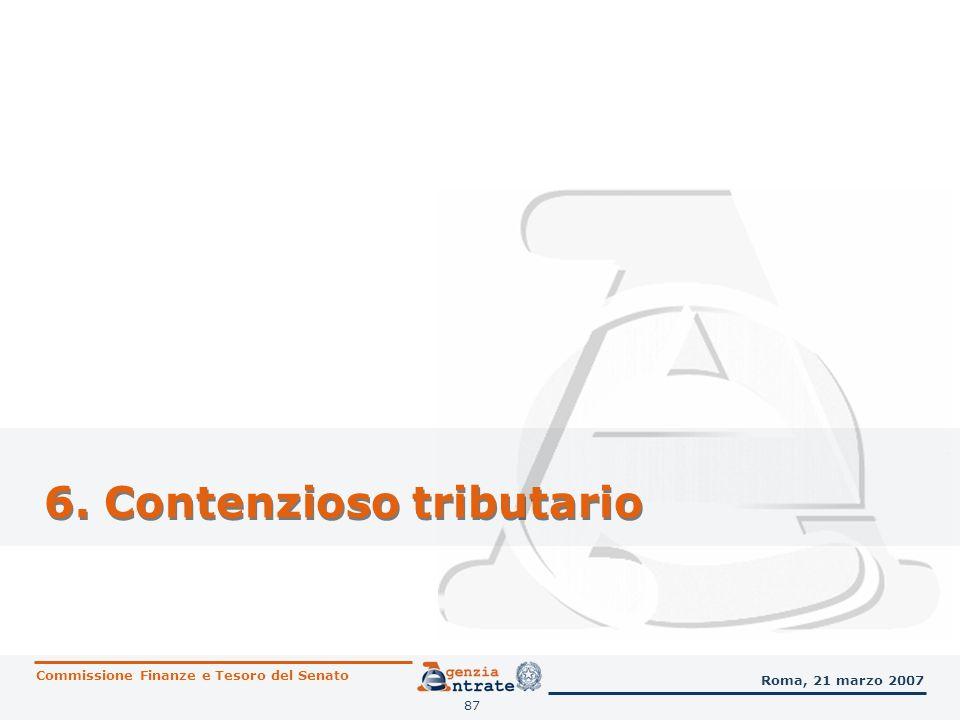 88 Contenzioso tributario Commissione Finanze e Tesoro del Senato Roma, 21 marzo 2007 Attività di supporto degli uffici operativi Alla Direzione centrale normativa e contenzioso sono assegnate tutte le attribuzioni interpretative, di indirizzo, di coordinamento, di controllo, di monitoraggio e organizzative, nonché la progettazione, sviluppo e gestione delle applicazioni informatiche di ausilio allattività contenziosa.