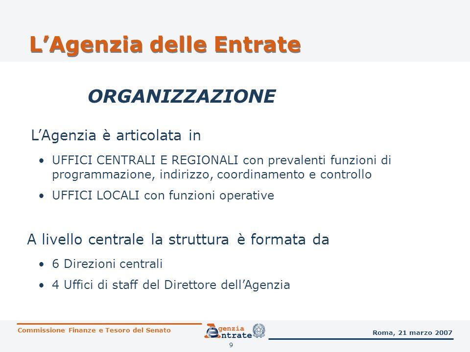 10 SETTORE COMUNICAZIONE ISTITUZIONALE LAgenzia delle Entrate Commissione Finanze e Tesoro del Senato Roma, 21 marzo 2007
