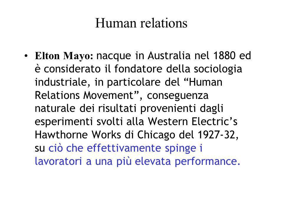 Human relations: i contributi di Mayo La produttività dipende dallambiente e dalla cooperazione.