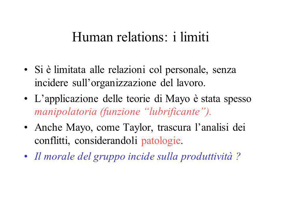 Human Resources Fine anni 50: posizioni critiche verso Taylorismo e verso Mayo: il filone H.