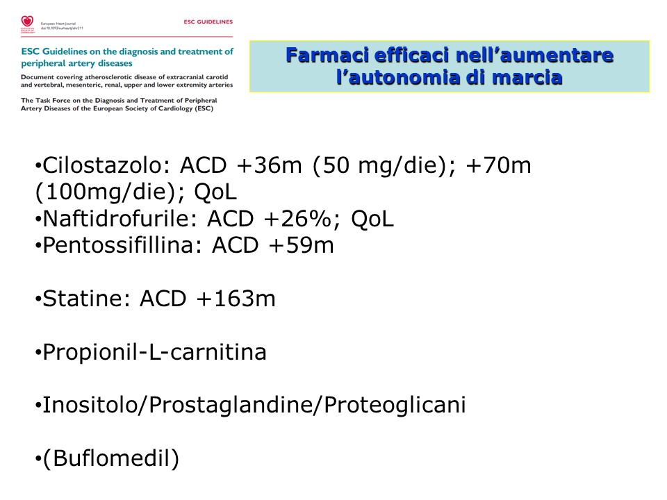 Farmaci raccomandati nella PAD con claudicatio ASA / ticlopidina / clopidogrel Statina Betabloccante se CAD