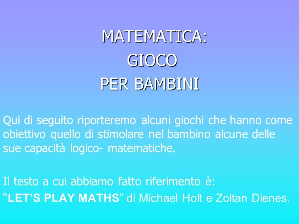 ALCUNE RIFLESSIONI: La matematica riguarda il modo con cui le cose si relazionano luna allaltra.