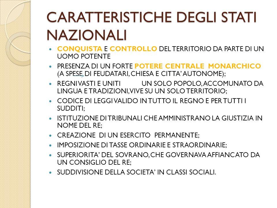 LE MONARCHIE NAZIONALI FRANCIA POTENZA TERRESTRE RICCHEZZA LEGATA AD AGRICOLTURA ED ARTIGIANAT INGHILTERRA POTENZA MILITARE E COMMERCIALE MAGNA CHARTA LIBERTATUM CHE LIMITA IL POTERE DEL RE SPAGNA UNIFICAZIONE DEL TERRITORIO ATTRAVERSO MATRIMONIO TRA ISABELLA DI CASTIGLIA E FERDINANDO DI ARAGONA; LIMPIEZA DE SANGRE: ESPULSIONE DEGLI ARABIE DEGLI EBREI DALLA PENISOLA.